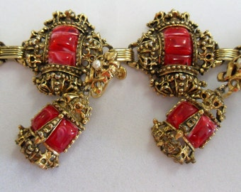 Fun and Playful Vintage  Pink and Antique Gold Bracelet and Earrings
