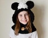 Skunk Hat - Skunk Hoodie - Skunk Cowl - Animal Hat - Hooded Scarf - Crochet Hoodie - Chunky Crochet Hat
