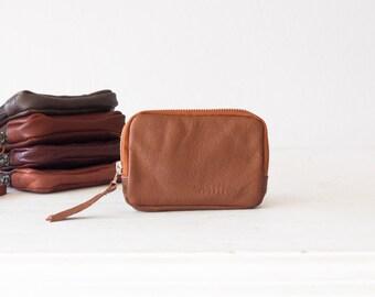 Brown leather zipper wallet,coin purse,zipper phone case,money bag,credit card purse,zip purse - The Myrto Zipper pouch