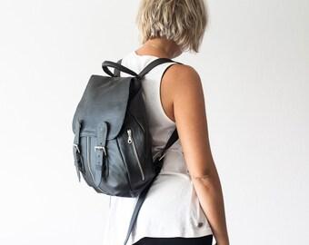 Leather backpack in black for women, rucksack, back bag,daypack,knapsack,everyday backpack,leather bag-Artemis backpack