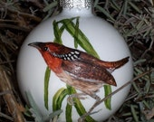 RESERVED LISTING for Laura Cartwright - Musician Wren Glass Christmas Ornament Hand Painted