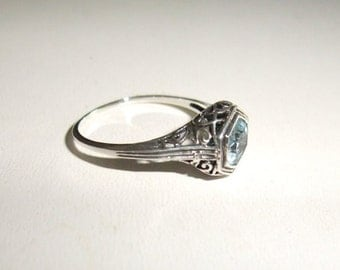 Sale Price 26.00/ Was 39.50 / Victorian Aquamarine Sterling Silver Ring Size 8 Free USPS Shipping
