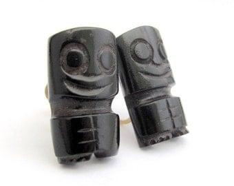 Vintage Black Coral Earrings, Hawaiian Jewelry, Tiki Earrings, Vintage Screw On Earrings, 12K Gold Fill, Hand Carved Coral Earrings