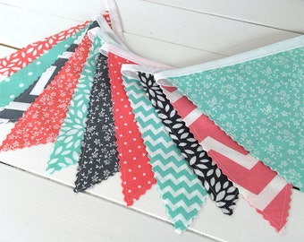 Bunting Fabric Banner, Fabric Flags, Girl Nursery Decor, Birthday Decoration, Garland - Coral Pink, Gray, Mint Green, Chevron, Flowers, Dots