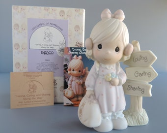 Vintage Precious Moments Loving, Caring And Sharing Along The Way Figurine C0013, Girl with Suitcase and Signpost, Limited 1993 Butterfly