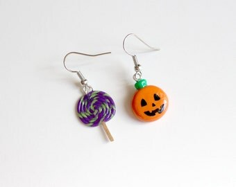 Halloween Mis-Matched Earrings - Jack-O-Lantern Pumpkin and Lollipop