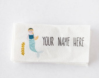 Mermaid Fabric Name Label - Printed Clothing Name Tag for Girls (name tags personalized)