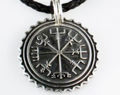 Nordic Viking Vegvisir Nautical Mariner Compass Pendant - Sterling Silver