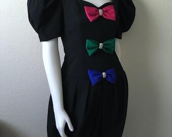 Vintage Women's 80's Bubble Dress, Black, Bow Tie, Short Sleeve, Party Dress (S)