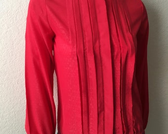 Vintage Women's 80's Blouse, Red, Polyester, Long Sleeve, Button Up (S)