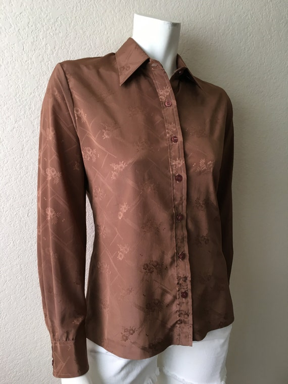 Vintage Women's 80's Brown Blouse, Jacquard Floral, Long Sleeve by Panther (M/L)