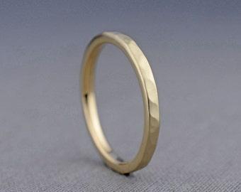 2mm 14K Rose Gold Textured Wedding Ring   14K Gold Ring Hammered Wedding Band