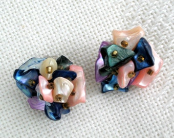 Japan Clip Earrings Pink Blue Mother of Pearl Abalone Vintage Costume Jewelry