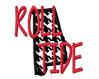 ROLL TIDE Alabama Applique 4x4 7x5 10x6 Machine Embroidery Design Team Instant Download Basketball Baseball Football Sports Crimson Tide