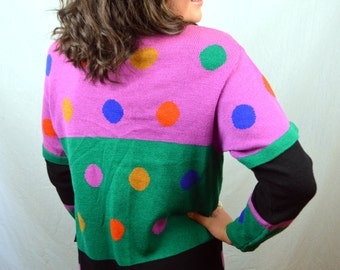 Vintage 80s Rainbow Polka Dot Long Fun Cardigan WOW Pop Art Sweater