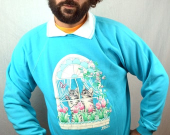 Vintage 90s Cat Kitty Meow Puffy Sweatshirt