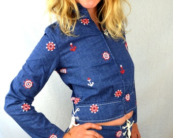 RARE Vintage 1960s Patty Woodard FUN Nautical Set - Jacket, Skirt and Matching Pants