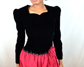 Vintage 1980s Black Velvet Pink Party Dress - Scott McClintock