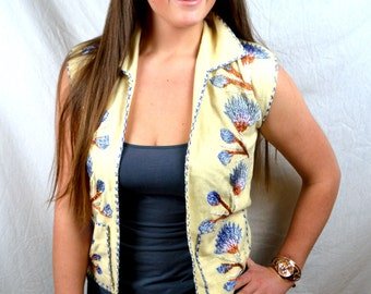 Vintage Wool Embroidered Hippie Vest