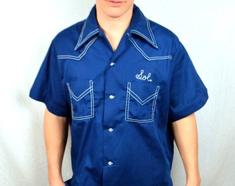 Nice Vintage 60s 1960s Hilton Embroidered Bowling Shirt -