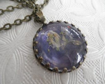 Purple-Blue Larkspur Beneath Glass Bronze Crown Pendant-July's Birth Flower-Symbolizes An Open Heart-Nature's Wearable Art-Gifts Under 25