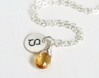 Personalized Initial Necklace / November Birthstone Necklace / Handstamped Necklace / Yellow Citrine Sterling Silver Pendant