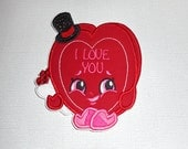 Free Shipping Ready to Ship Valentine heart Box Fabric Iron on applique