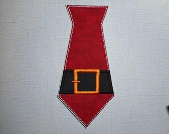 Free Shipping  Ready to ship   BOYS Santa Tie   Machine Embroidery       Iron on appliqu