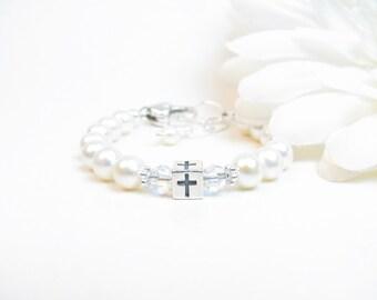 Baptism Bracelet // Christening Bracelet // Baby Baptism Bracelet // Cross Bracelet // Pearl Baby Bracelet // Confirmation Gift // Communion