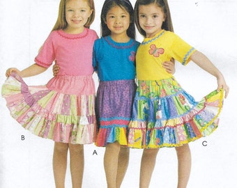 Uncut, Child Size 3 to 6, Sewing Pattern, McCall's 5841, Girl, Skirt, Toddler, Children, Kids, Layers, Ruffles, Tiers, Patchwork, School