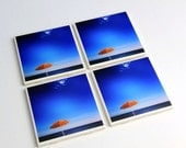 Tile Coasters, Beach Decor, Orange and Blue, Beach Umbrella, Photo Coasters, Set of 4
