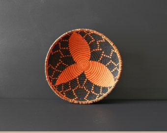 Vintage Geometric Coiled Basket - Handwoven Basket