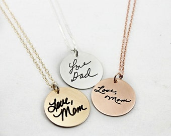Custom Handwriting Necklace -  Handwriting Signature Necklace - Remembrance Memorial Necklace - Silver, Rose Gold, Yellow Gold