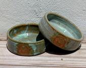 Dog Bowls. Pet Bowls. Rustic. Green. Tree of Life. Food and Water. Pet Feeding. Ceramic. Handmade. Pottery. Unique. New Puppy. Bigdogpots.