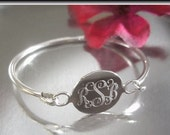 Sterling Silver Monogrammed Child Bangle Bracelet, Silver Initial Bracelet, Silver Name Bangle, Baptism Jewelry, Flower Girl, Round, Circle