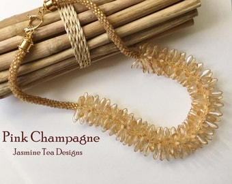 Pink Champagne Fully Beaded Kumihimo Necklace, 24 inch Beaded Necklace, Luster Champagne Czech Glass Beaded Necklace