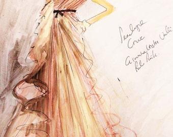 Giambattista Valli Haute Couture blush Pink Gown.Beautiful fashion illustration/ fashion art/ fashion painting