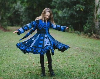 "CUSTOM ORDER DEPOSiT ""Blue Moon"" Girls Pixie Coat sizes 3, 4, 5 6, 7, 8, 9, 10, 12 ,14"
