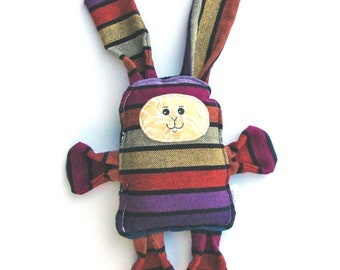 Zena Bunny - Zenith Cuervo Girasol Wrap Scrap Bunny Pillow Plush - Hand Drawn Face