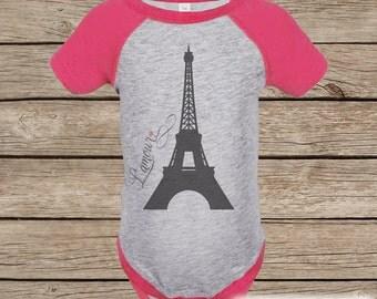 Novelty Girl's Outfit - Paris Eiffel Tower Pink Raglan Shirt - Pink Baby Girls Onepiece or Tshirt - Kids Paris Novelty Raglan Tee for Girls