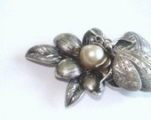 Engraved Butterfly Vintage Cultured Akoya Pearl Signed Silver Jewelry Brooch