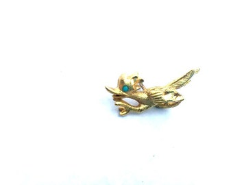 Vintage - Pin - Golden Road Runner with Turquoise Eye