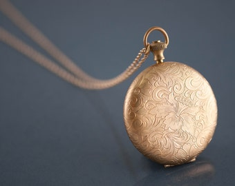 Long Gold Push Button Locket Necklace, Paisley Flower Gold Pendant, Huge Locket for Picture, Large Locket Jewelry, Long Pendant Necklace