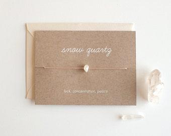 Snow Quartz - Crystal Card - friendship necklace or bracelet - gold - quartz - bridesmaid gift - birthday - best friends - bff - love