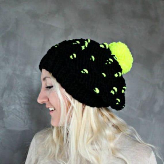 Black Slouchy Knit Hat- Neon Yellow Beanie- Chunky Beanie- Boho Beanie- Slouchy Beanie- Baggy Beanie- Tam Beanie- Tam Hat- Pom Pom Beanie