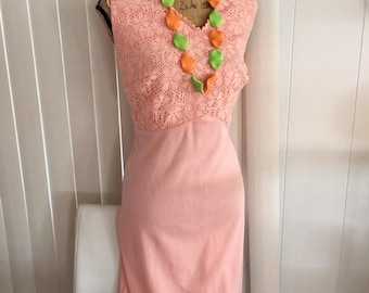 Peachy Perfect Vintage 1970's Maxi Dress -- XL