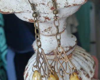 Art Nouveau style earrings picasso drops teardrops