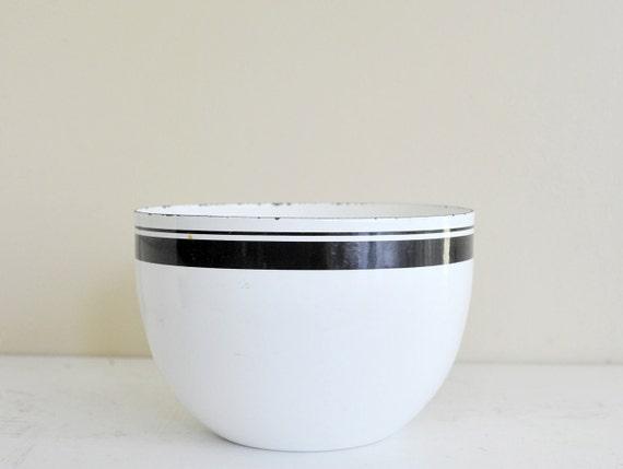 Enamel Bowl, Finel ARABIA Bowl, Kaj Franck, Wartsila Finland, Finnish Enamel Bowl with Black Stripes Black and White Scandinavia Kitchen,