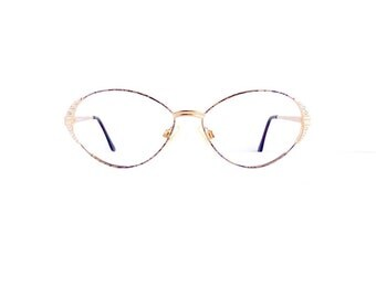 Yves Saint Laurant YSL Eyeglasses Frames Women's 1990's Gold with Pattern & Jewels Frames Made in Italy Comes with Case #M450 DIVINE