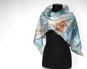 Cobweb Felted Scarf Lacy Airy Felt Wrap Handmade Pastel Multicolor Wool Silk Felt Gift OOAK Fashion Accessory